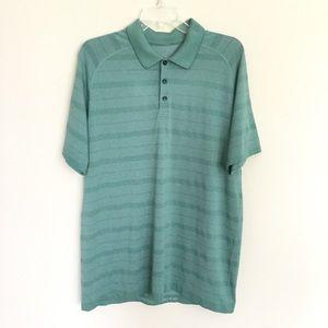 LULULEMON Men's Tech Polo Shirt XL Green Striped